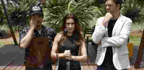 Ticiana Villas Boas com os jurados Rogerio Debetti e Carlos Bertolazzi - Divulgação/SBT - Divulgação/SBT
