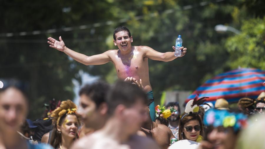 Foliões se reúnem no bloco de carnaval Pérola da Guanabara, que acontece na Ilha de Paquetá, no Rio, em 2018 - Bruna Prado/UOL