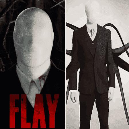"""Pôster do filme """"Flay"""" (esquerda) e o conceito do Slender Man (direita) - Reprodução/Montagem - Reprodução/Montagem"""