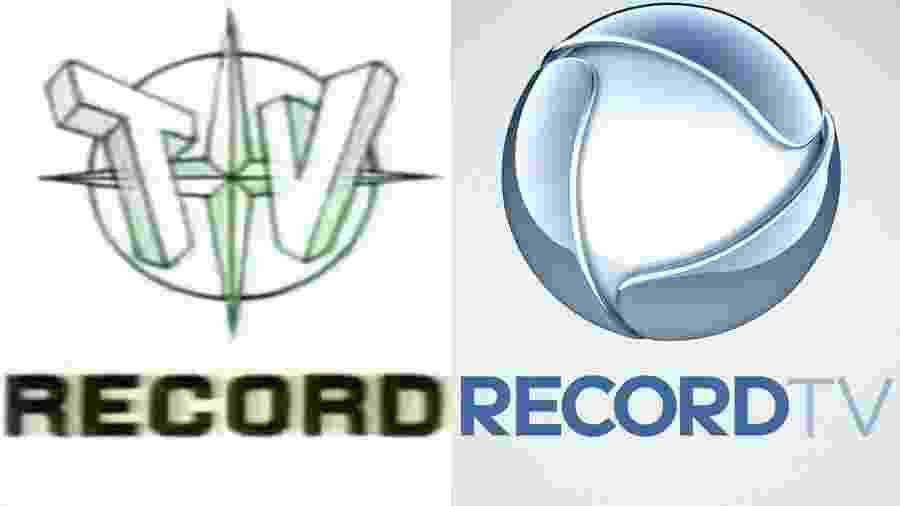 Logotipos da Record em 1953 e em 2018 - Montagem/UOL/Reprodução