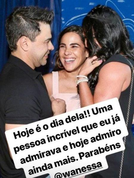 Em foto, Graciele Lacerda parabeniza Wanessa pelos 36 anos - Reprodução/Instagram