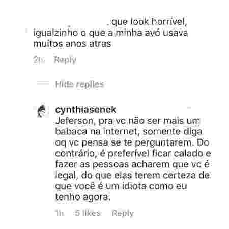 A resposta direta de Cynthia Senek ao comentário ácido do internauta  - Reprodução/Instagram/@cynthiasenek - Reprodução/Instagram/@cynthiasenek