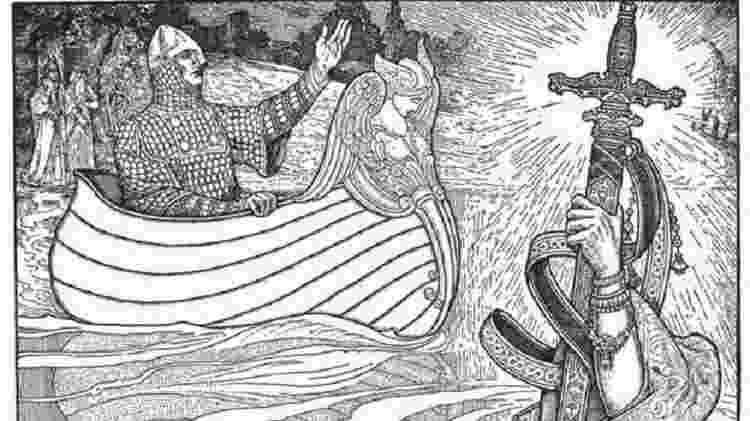 Na tradição anglo-saxã as espadas estão relacionadas com status; Arthur vira rei da Bretanha ao receber sua Excalibur da pedra  - Alamy
