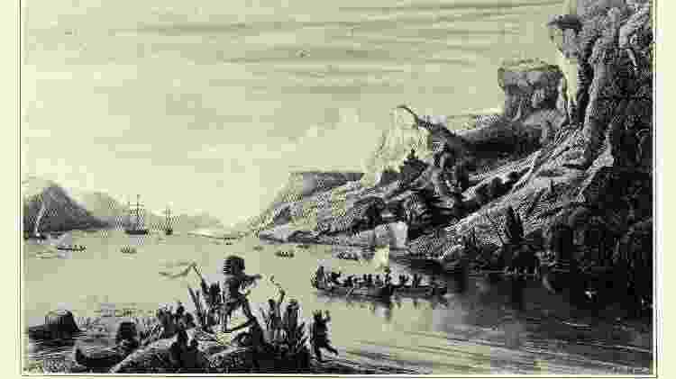 Ilustração da chegada de Cartier ao Rio São Lourenço, no Canadá  - Getty Images