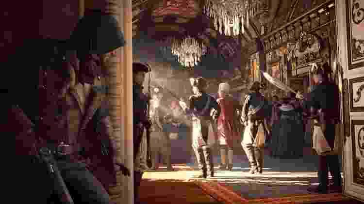 """As missões mais importantes e elaboradas de """"Assassin's Creed Unity"""" envolvem invadir um lugar fortemente protegido, eliminar um alvo e fugir em segurança. - Divulgação"""