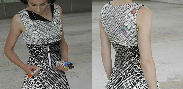 O vestido para colorir foi criado para exposição de design - Divulgação