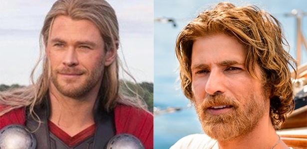 Chris Hemsworth, que interpretou Thor nos cinemas e Reynaldo Gianecchini   - Reprodução e Ramón Vasconcelos/TV Globo