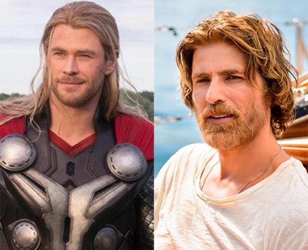Chris Hemsworth, que interpretou Thor nos cinemas e Reynaldo Gianecchini