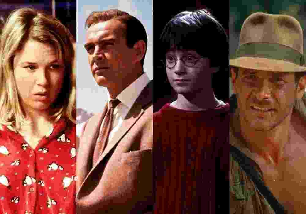 """Cena dos filmes """"O Diário de Bridget Jones"""" (2001), """"007 Contra o Satânico Dr. No"""", """"Harry Potter e a Pedra Filosofal"""" (2001) e """"Indiana Jones e o Templo da Perdição"""" (1984) - Montagem/Reprodução"""