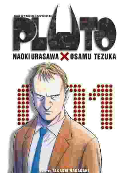 """Capa da edição brasileira da HQ """"Pluto"""", de Naoki Urasawa - Reprodução"""