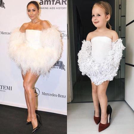 Stefani Chaglar, de 5 anos, replica os looks de famosas com a ajuda de sua mãe - Reprodução/Instagram