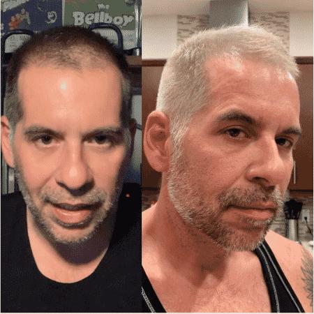 Leandro Hassum antes e depois de pintar os cabelos - Reprodução/Instagram