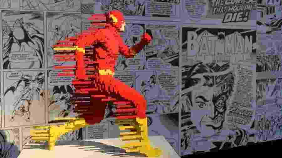 Peça da exposição The Arte of the Brick: DC Heroes retrata o herói The Flash - Reprodução