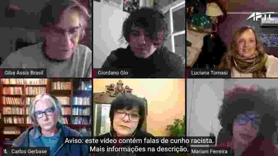 """Mariani Ferreira e Luciana Tomasi, entre outros, em live sobre """"Inverno"""" promovida pela APTC-RS - Reprodução/YouTube"""