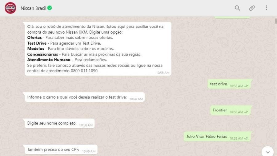 Agendamento de test drive da Nissan via WhatsApp - Divulgação