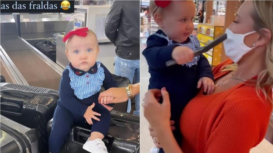 Ana Paula Siebert e a filha Vicky no aeroporto - Reprodução/instagram