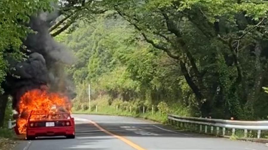 Ferrari F40 pega fogo no Japão - Divulgação