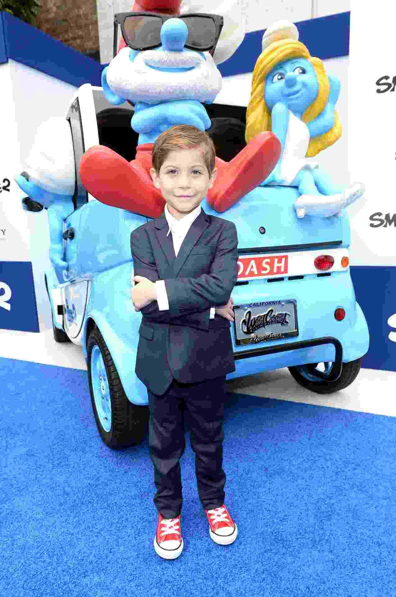 """28.jul.2013 - O ator Jacob Trembley divulga """"Os Smurfs 2"""", seu primeiro grande filme da carreira - Michael Buckner/Getty Images"""