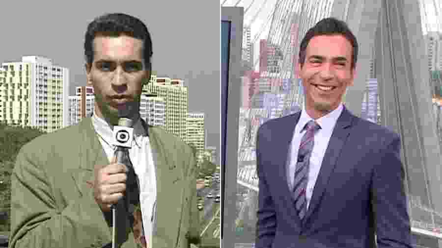 """César Tralli revê no """"SPTV 1ª Edição"""" reportagem feita por ele em 1995 - Montagem/Reprodução/TV Globo"""