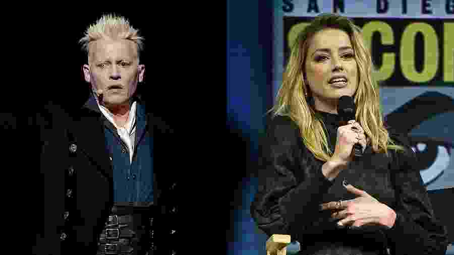 Johnny Depp e Amber Heard foram escalados para o painel da Warner na San Diego Comic-Con 2018 - Kevin Winter/Getty Images/AFP e Chris Delmas/AFP Photo