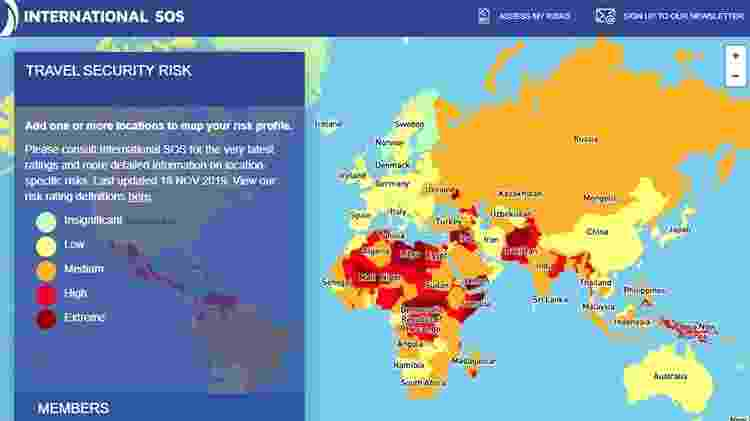 Mapa interativo sobre os países mais perigosos do mundo para turistas - Reprodução