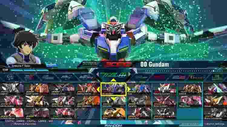 Mobile Suit Gundam Extreme seleção de personagens - Reprodução - Reprodução