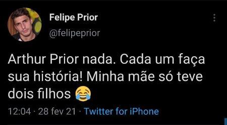 BBB 21: Felipe Prior comenta fala de Arthur no Twitter - Reprodução/Twitter - Reprodução/Twitter