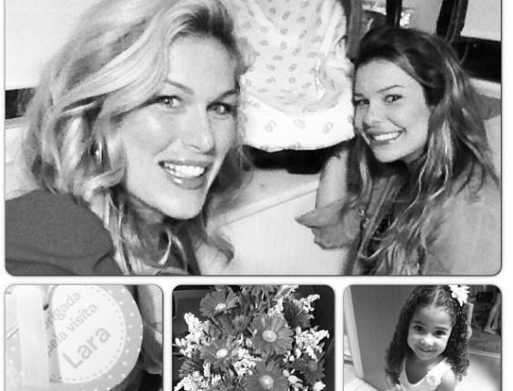 Ludmila Dayer e Fernanda Souza visitaram Samara Felippo na maternidade