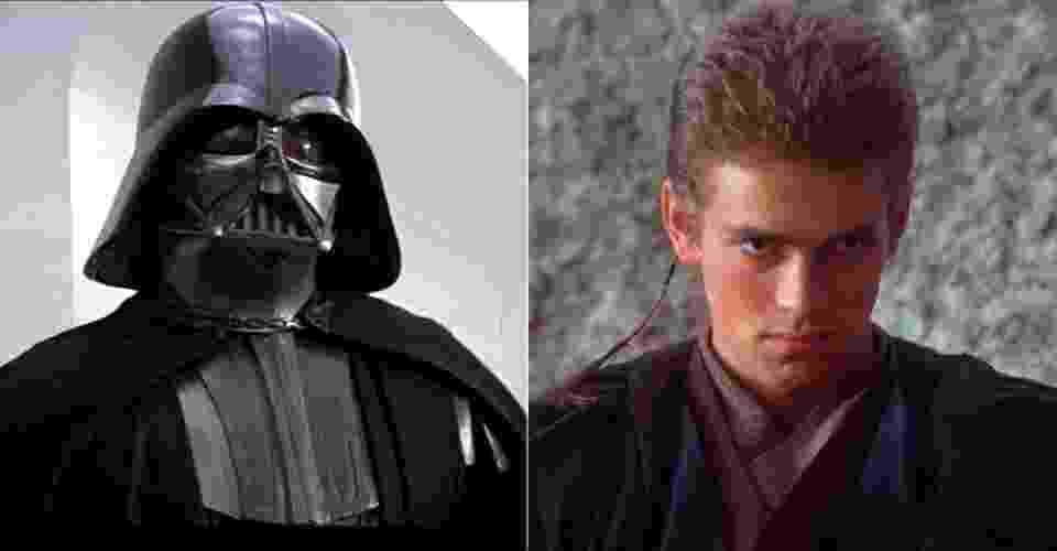 """Na imagem, o personagem Anakin Skywalker na nova saga """"Star Wars"""" e mais velho transformado no maligno Darth Vader da trilogia clássica - Reprodução"""