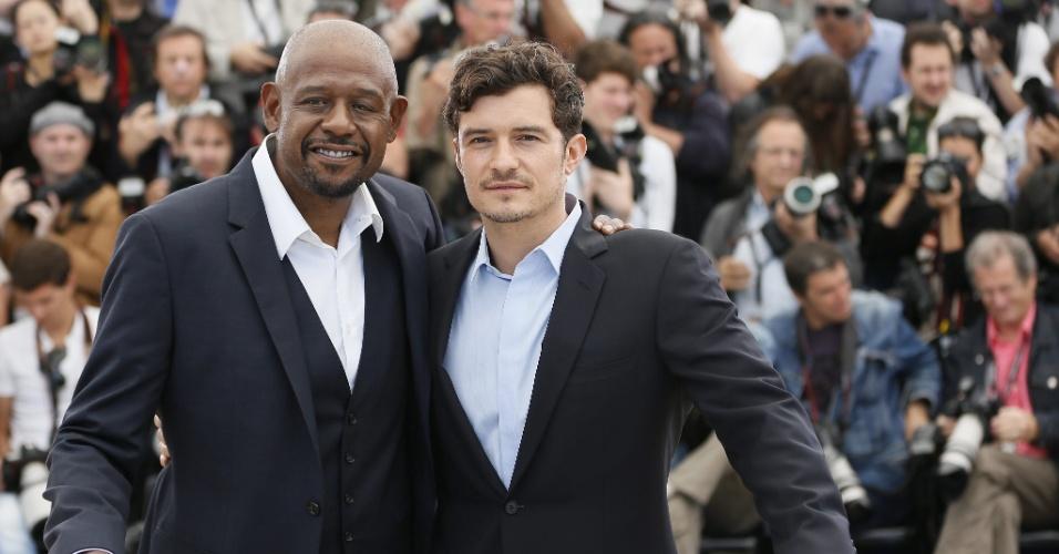 26.mai.2013 - Forest Whitaker e Orlando Bloom posam para divulgar o filme