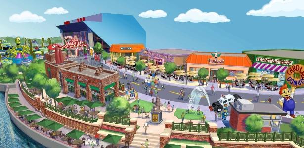 Imagem mostra como será a Springfield do parque temático - Universal Studios/EFE