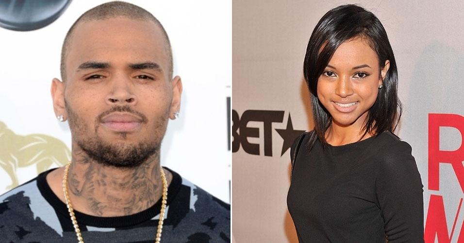 Montagem com o cantor Chris Brown e a modelo Karrueche Tran