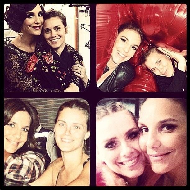 27.mai.2013 - Carolina Dieckmann homenageia Ivete Sangalo no aniversário de 41 anos da cantora com montagem de fotos.