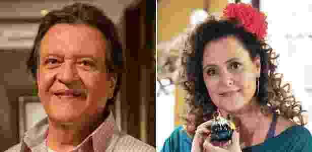 """Em """"Amor À Vida"""", Luis Melo e Elizabeth Savalla são o administrador Atílio e a ex-chacrete Márcia, respectivamente - Divulgação/TV Globo"""