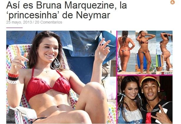 25.mai.2013 - Blog do site esportivo espanhol Sport apresenta Bruna Marquezine como a 'princesinha de Neymar'