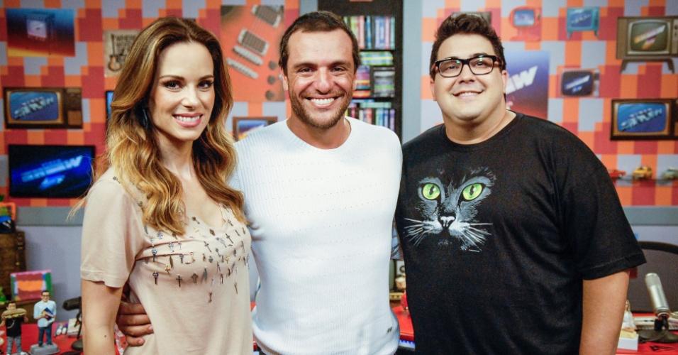 04.jun.2013 - Ana Furtado e André Marques recebem Rodrigo Lombardi no Vídeo Show