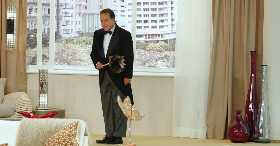 """4.jun.2013 - Tony Ramos grava participação especial no humorístico """"Sai de Baixo"""". Os quatro episódios inéditos da série foram filmados no Teatro Procópio Ferreira, em São Paulo"""