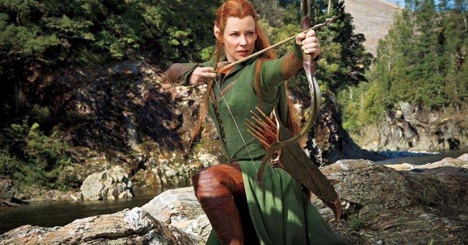 Evangeline Lilly como a elfa Tauriel de