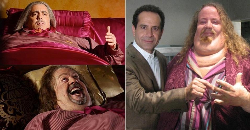 """O personagem Dale """"The Whale"""" Biederbeck foi interpretado por três atores diferentes durante suas oito temporadas: Adam Arkin(esq. no alto), Tim Curry (esq. em baixo) e Ray Porter (dir.)"""