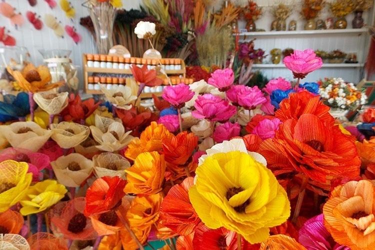 Flores secas do cerrado são trabalhos típicos dos artesãos de Brasília. Elas podem ser encontradas nos boxes da Feirinha da Torre