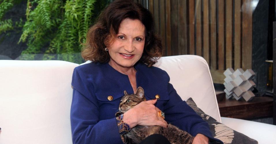 7.jun.2013 - Rosamaria Murtinho segura seu gato durante entrevista em sua casa em São Conrado, na zona sul do Rio