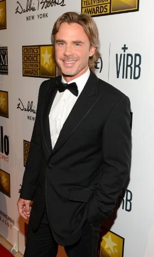 10.jun.2013 - Ator Sam Trammell posa no tapete vermelho do Criticts Choice Awards no Beverly Hilton Hotel em Los Angeles