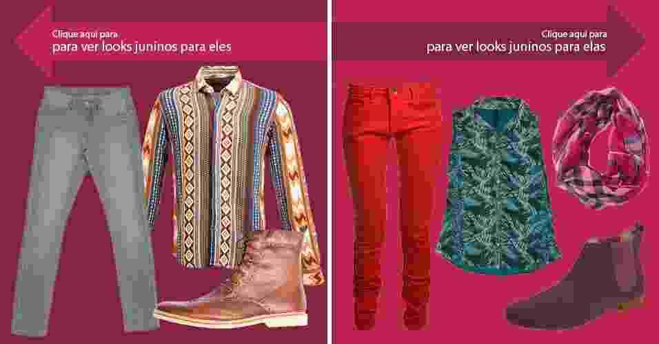 Clique na seta da esquerda para ver looks masculinos para festa junina e, na seta da direita, para ver looks femininos - Divulgação