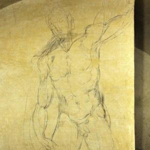Detalhe de um dos desenhos em carvão de Michelangelo encontrados em uma sala secreta na Basílica de San Lorenzo de Florença, na Itália - Carlo Ferraro/EFE