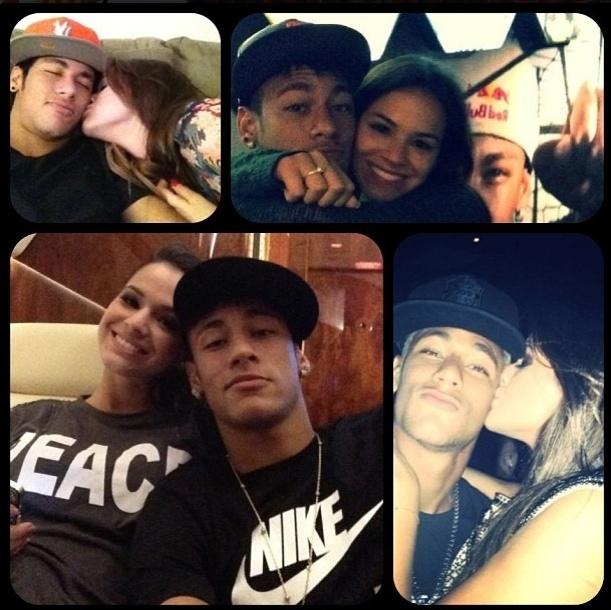 12.jun.2013 - O jogador Neymar publicou montagem de fotos ao lado da namorada Bruna Marquezine no Dia dos Namorados
