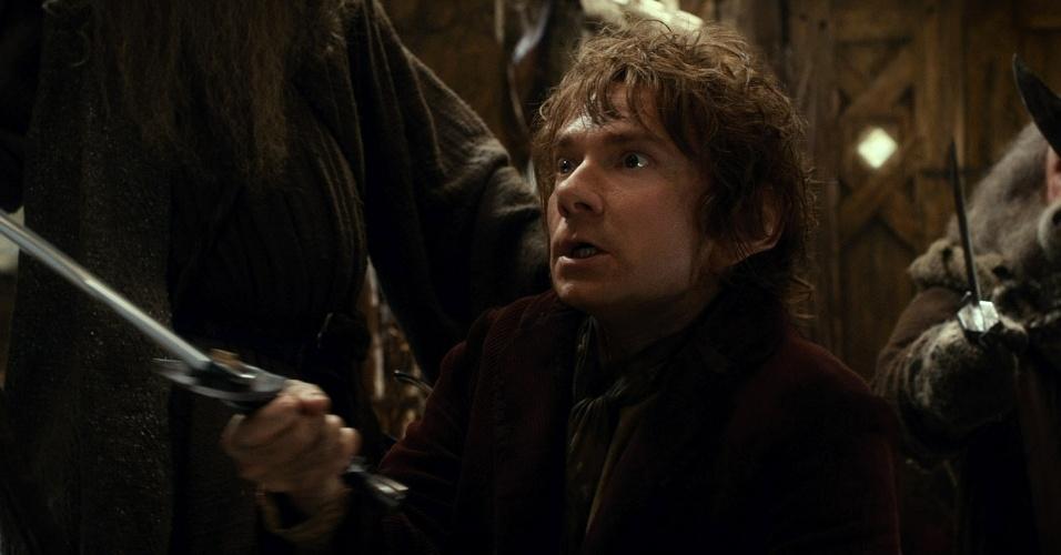 Bilbo Bolseiro, interpretado por Martin Freeman, em cena do filme