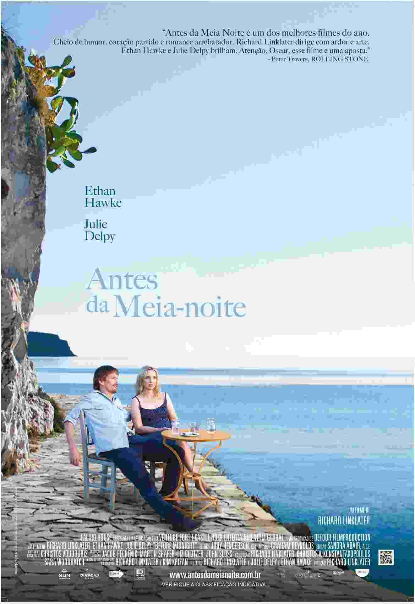 """Cartaz oficial em português do filme """"Antes da Meia-Noite"""", de Richard Linklater - pôster nacional - Divulgação / Diamond Films"""