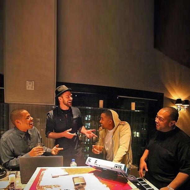 Jay-Z, Justin Timberlake, NAS e Timbaland aparecem em estúdio