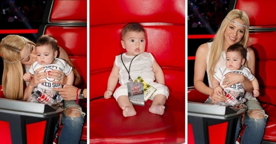 18.jun.2013 - Shakira leva o filho Milan, de cinco meses de idade, ao palco do