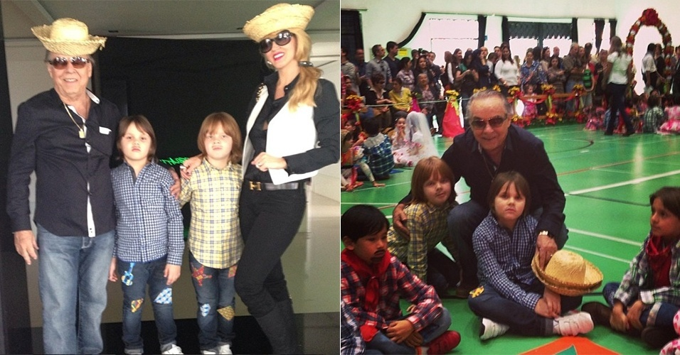 22.jun.2013 - Val Marchiori publica foto ao lado do empresário Evaldo Ulinski e dos filhos do casal, Eike e Victor, preparados para a festa junina